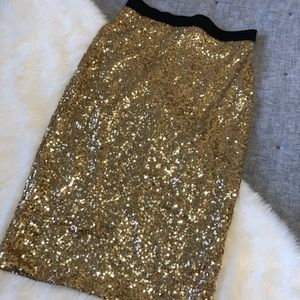 NWT Windsor gold sequin holiday pencil skirt sz.L